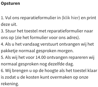 iphone reparatie opsturen
